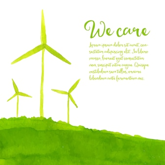 Green eco background with hand painted wind turbines on the hill ecology concept
