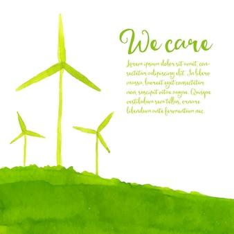 언덕 생태 개념에 손으로 그린 풍력 터빈과 그린 에코 배경