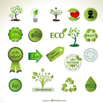 Green eco badges and tree designs
