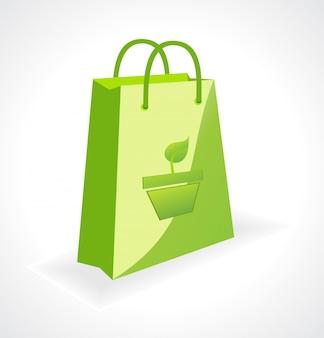 Вектор зеленый мешок с символом экологии