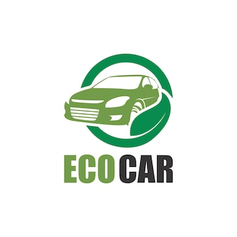 Green eco car logo