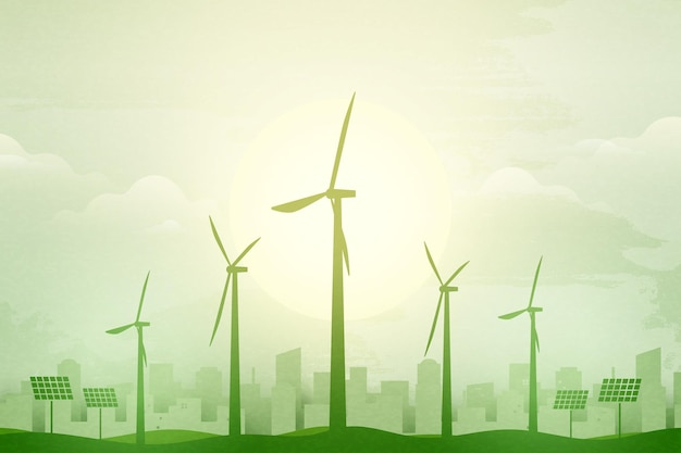Green eco city background.ecology and environment conservation resource sustainable concept.