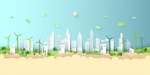Green eco city background