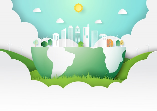 Green eco city concept paper art style