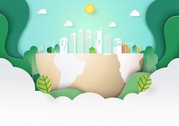 Green eco city landscape template paper art style