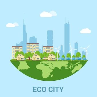 Зеленый эко-город с частными домами, панельными домами, ветряными турбинами и солнечными батареями, концепция стиля для возобновляемых источников энергии и экологических технологий