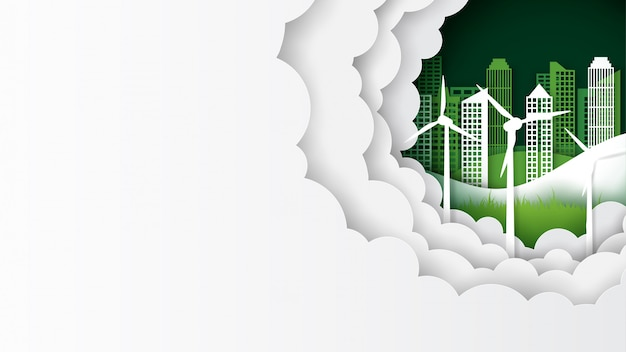 Green eco cityscape template banner