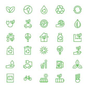 Green eco earth icon set outline vector