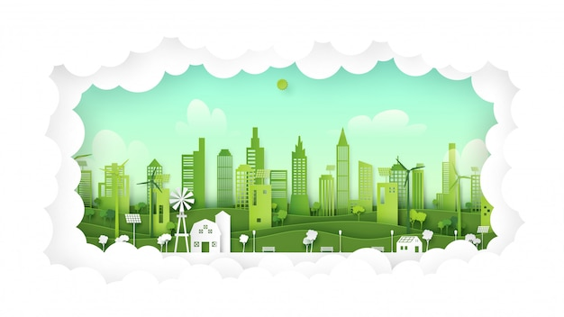 自然の背景に緑のエコフレンドリーな都市。エコロジーと環境のコンセプトペーパーアートスタイル。