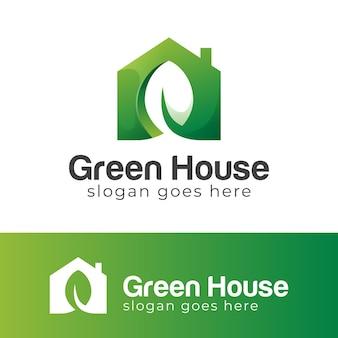 Green eco house gradient logo design