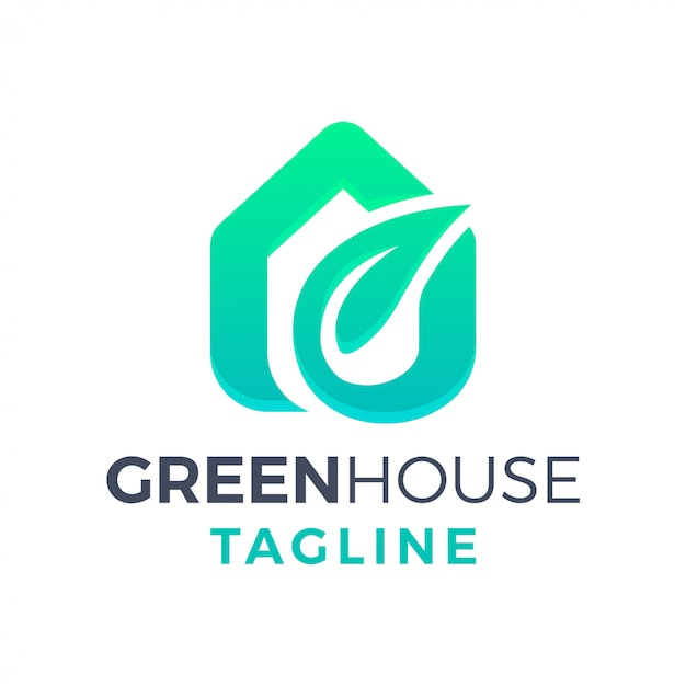 Green eco leaf house simple clean modern 3d gradient logo