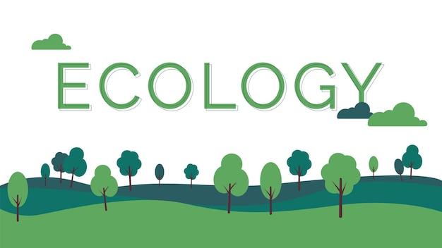 Green eco life flat art style concept vector illustration