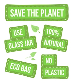 Green eco manifestation, protest, ecology demonstration, global, planet care, use glass, plastic free, eco bag, green leaves