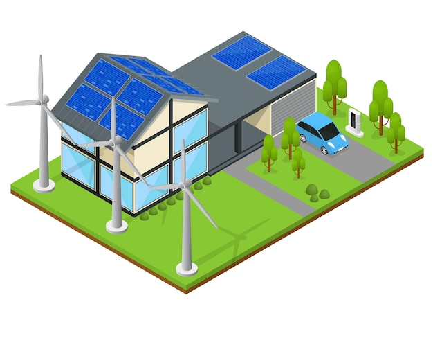 Green eco modern house with wind generator and solar panels