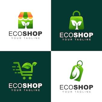 Green eco or natural shop logo bundle
