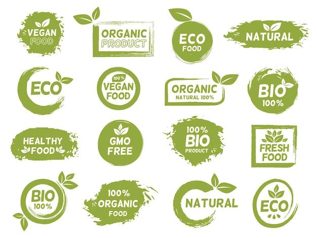 グリーンエコ、オーガニック、ビーガン製品のグランジラベル。新鮮な健康食品のロゴ。バイオナチュラル、遺伝子組み換え作物フリー、ベジタリアンパッケージロゴスタンプベクトルセット