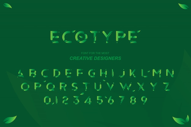 Green eco original bold font alphabet letters and numbers