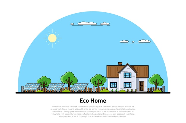 Зеленый эко частный жилой дом с солнечными батареями, концепция возобновляемых источников энергии и экологических технологий