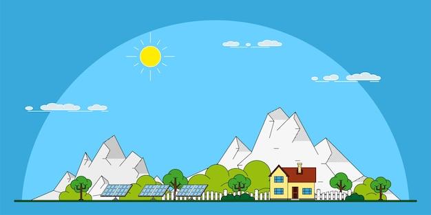 Зеленый эко частный жилой дом с солнечными батареями, концепция стиля для возобновляемых источников энергии и эко технологий
