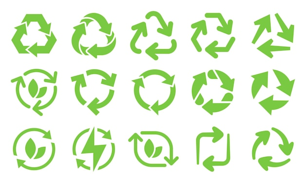 Green eco recycle arrows icons. reload arrows, recyclable trash and ecological bio recycling icon set.