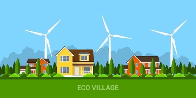 Зеленая эко-деревня с частными коттеджами и ветряными турбинами, концепция стиля для возобновляемых источников энергии и эко-технологий