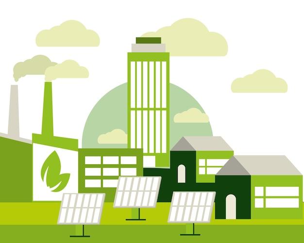 Зеленый городской пейзаж экологии