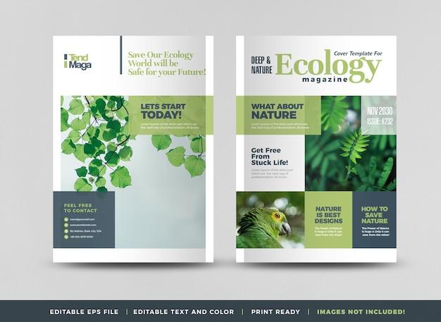 Green ecology or environmental magazine cover design