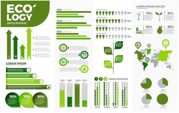 Green ecology infographic templates set