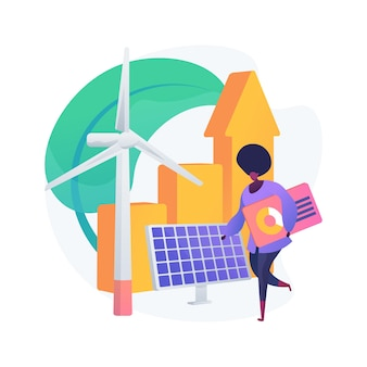 녹색 경제 추상적 인 개념 그림입니다. 저탄소 글로벌 경제, 지속 가능한 개발, 녹색 교육, 글로벌 경제 성장, 바이오 순환, 기후 회복력