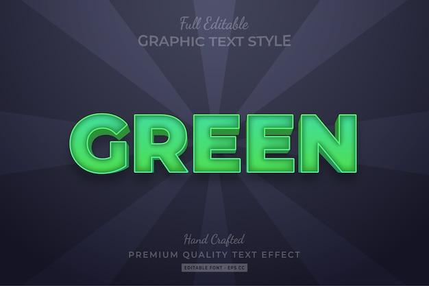 Green editable custom text style effect premium Premium Vector