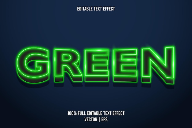 Green editable text effect neon style