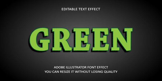 Green editable text effect