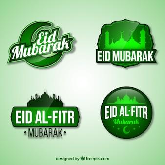Green eid al fitr logo collection