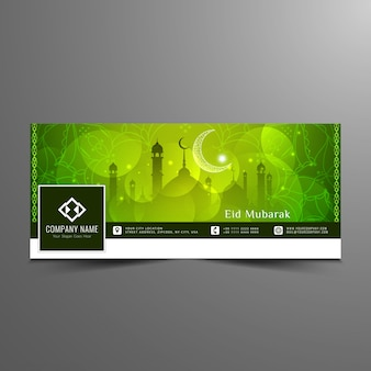 Green eid mubarak design for facebook timeline