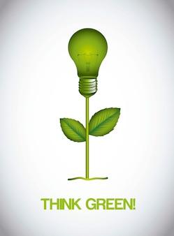 Зеленый электрической лампочки ове серый фон векторной иллюстрации