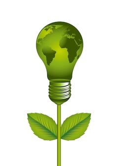 Зеленая электрическая лампочка с картой на белом фоне