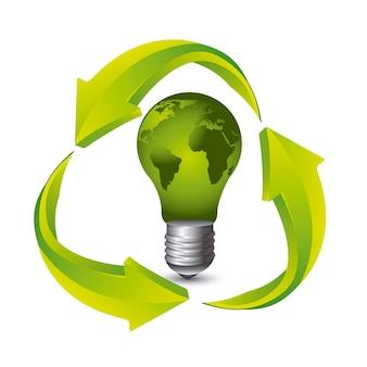 Зеленая электрическая лампа с recyle знак на белом фоне вектор