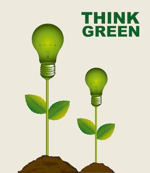 Зеленые электрические лампочки концептуальные над бежевым фоном вектор