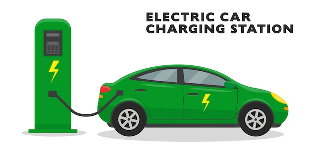 Зеленый электромобиль на зарядной станции, изолированные на белом фоне. .