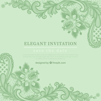 Green elegan invitation with hand drawn flowers