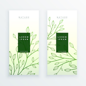 Green elegant vertical leaves banners