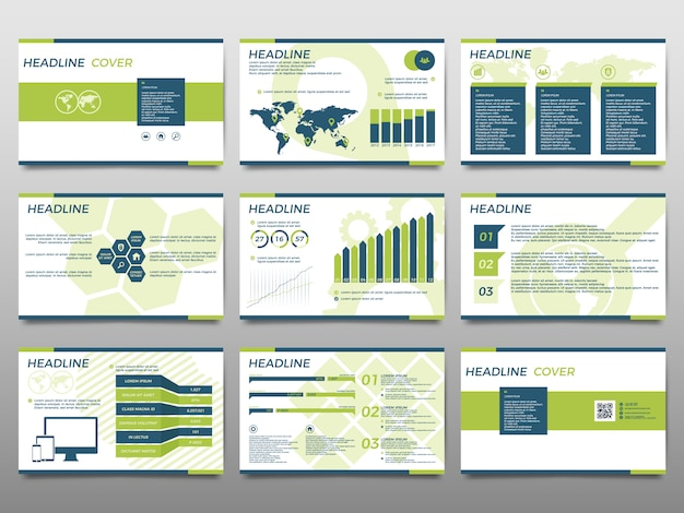 Green elements for infographics on a white background. presentation templates.