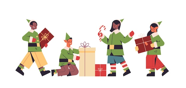 Green elves in costumes preparing gifts mix race boys girls santa helpers happy new year merry christmas holidays celebration concept full length horizontal vector illustration