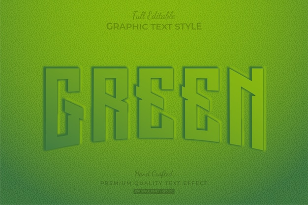 Green embossed editable text effect font style
