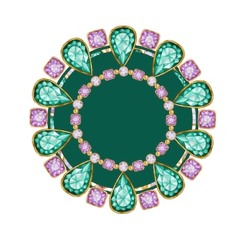 녹색 에메랄드 드롭, 골드 요소 프레임이있는 보라색 사각형 및 원형 크리스탈 보석 크리스탈 테두리가있는 밝은 수채화 그리기 팔찌.