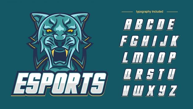 Логотип спортивной команды green emerald tiger с типографикой