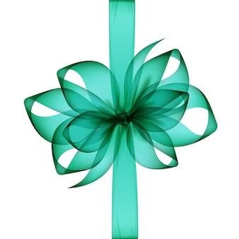 녹색 에메랄드 투명 활과 리본 상위 뷰는 흰색 배경에 격리 닫습니다