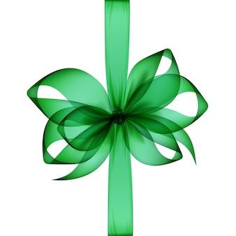 Зеленый изумрудный прозрачный лук и лента