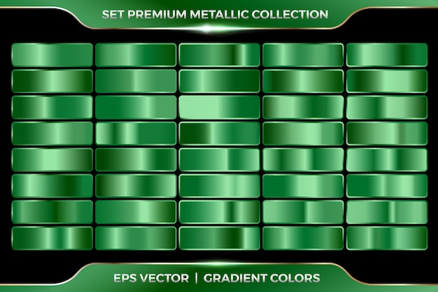 Green emerald turquoise collection of gradients large set of metallic palettes   template