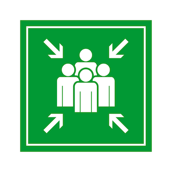 Green emergency evacuation assembly point sign